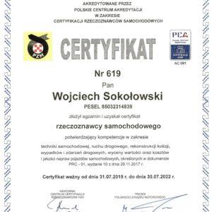 Certyfikat PZM nr 619 RS